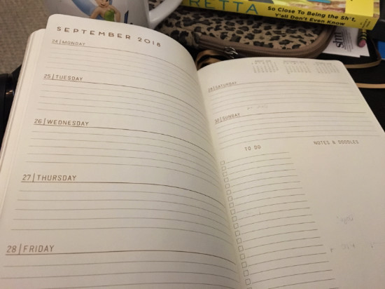 inside spread of planner