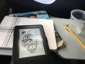 kindle on airplane tray table