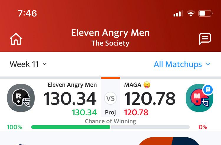 screenshot of my fantasy football team beating the other team named MAGA