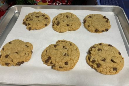 six chocolate chip cookies
