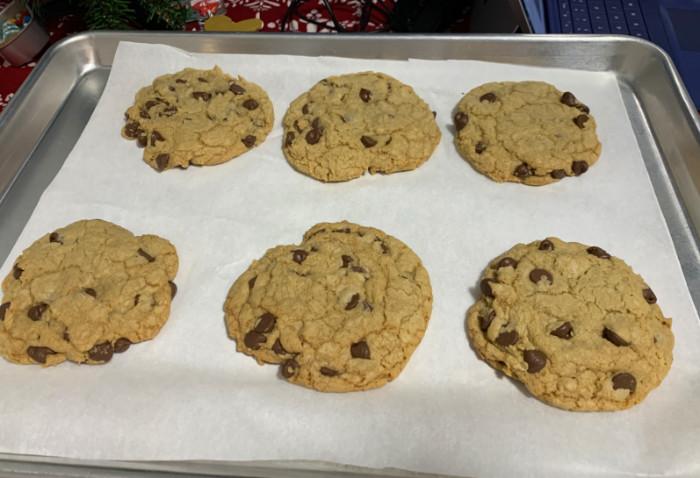 six chocolate chip cookies