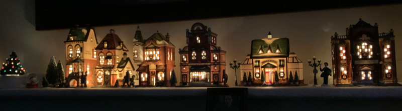 illuminated christmas village houses