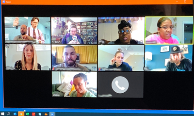 screenshot of a zoom conference call with video