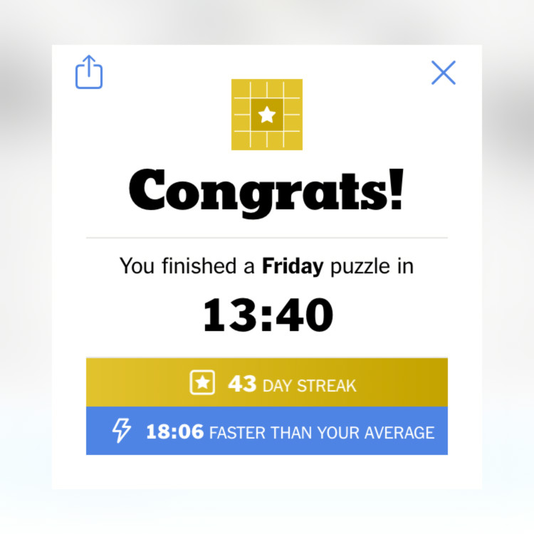 screenshot showing 43 day crossword puzzle streak