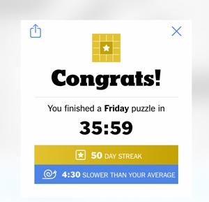 50 day crossword puzzle streak