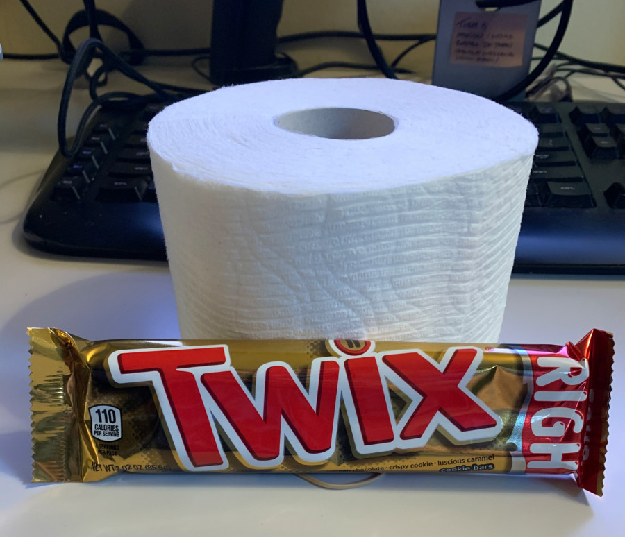 toilet paper and twix