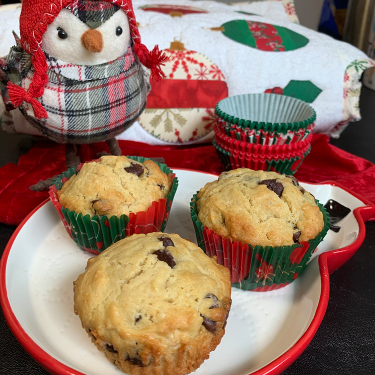muffins incomprehensibly photographed with Christmas decor because I'm losing my mind.