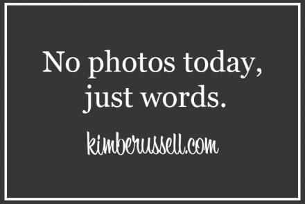 graphic that says no photos, just words