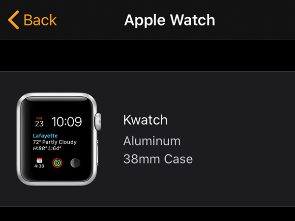 screenshot of my apple watch paring. it's called kwatch.