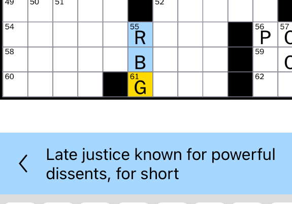 screenshot of crossword puzzle clue referencing the death of Ruth Bader Ginsburg.