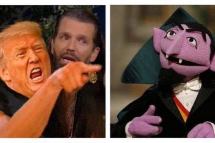 meme of trump yelling at the count from sesame street