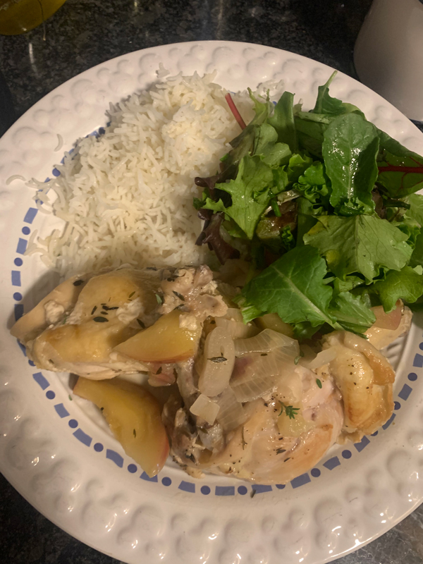 finished dish - chicken, rice, and salad