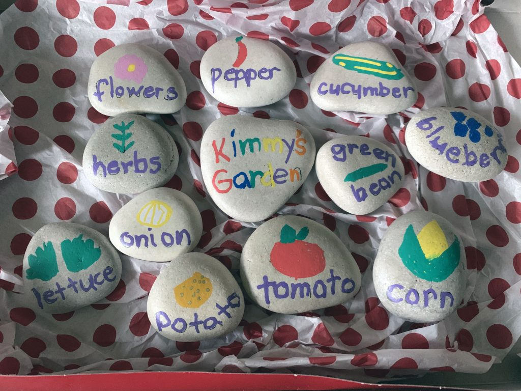 assortment of stones with vegetables painted on them. for use in the garden to mark where plants are