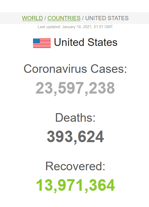 screenshot of coronavirus stats - 393,624 deaths.