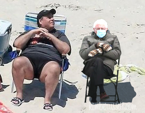 a photoshopped image of Bernie Sanders sitting next to Chris Christie on the beach.