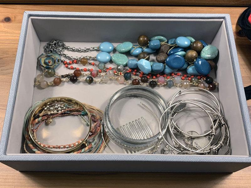 bottom level - bangle bracelets and chunky necklaces