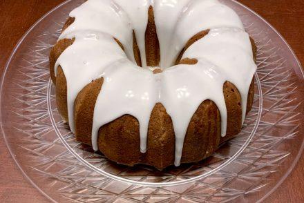 a lemon cake, in a bundt shape