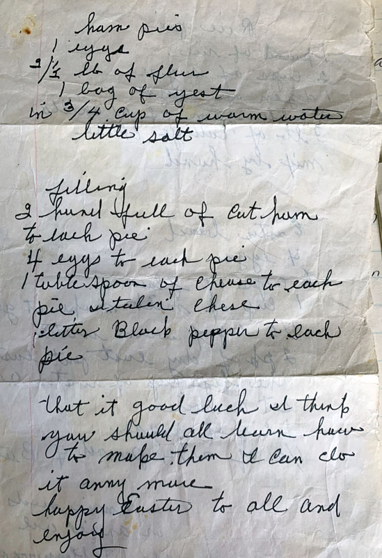 a wrinkled piece of paper with my grandmother's writing on it.