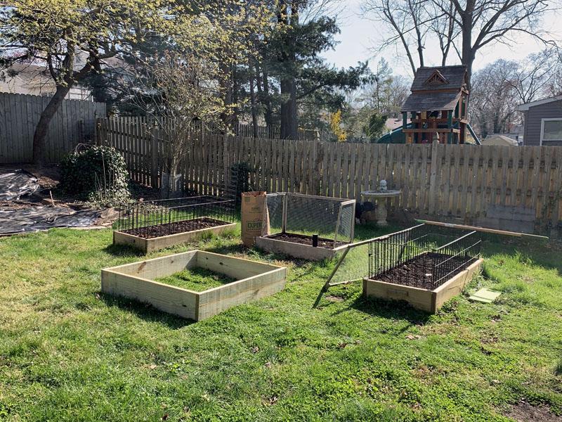 Four raised garden beds.