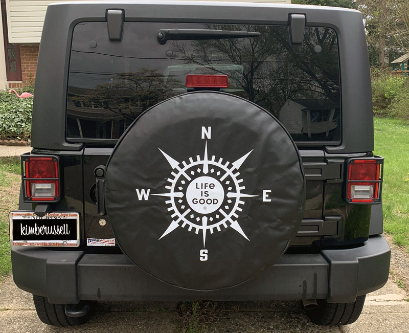 the tire cover that says Life is Good