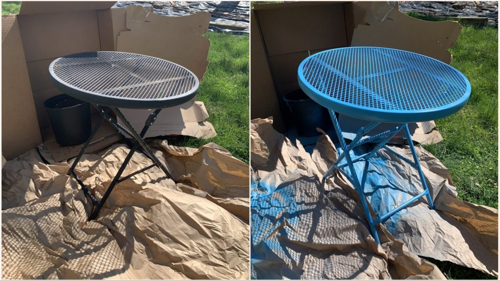 the before and after of an old outdoor table. It was black, now it's blue!