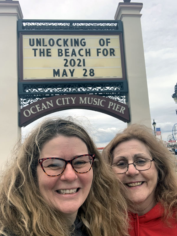 Kim and her Mom under the Ocean City Music Pier sign.