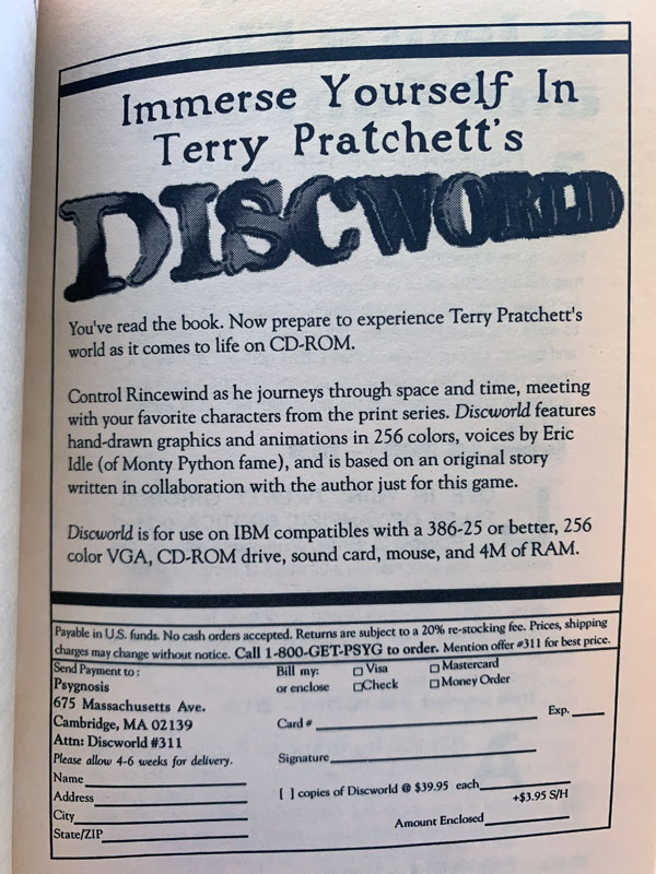 an ad for the Discworld CD-ROM game, from the 1992 paperback version of Small Gods
