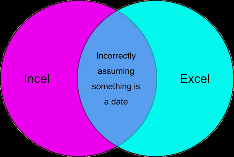 """venn diagram with Incel and Excel in the circles. where they intersect says """"incorrectly assuming something is a date"""""""