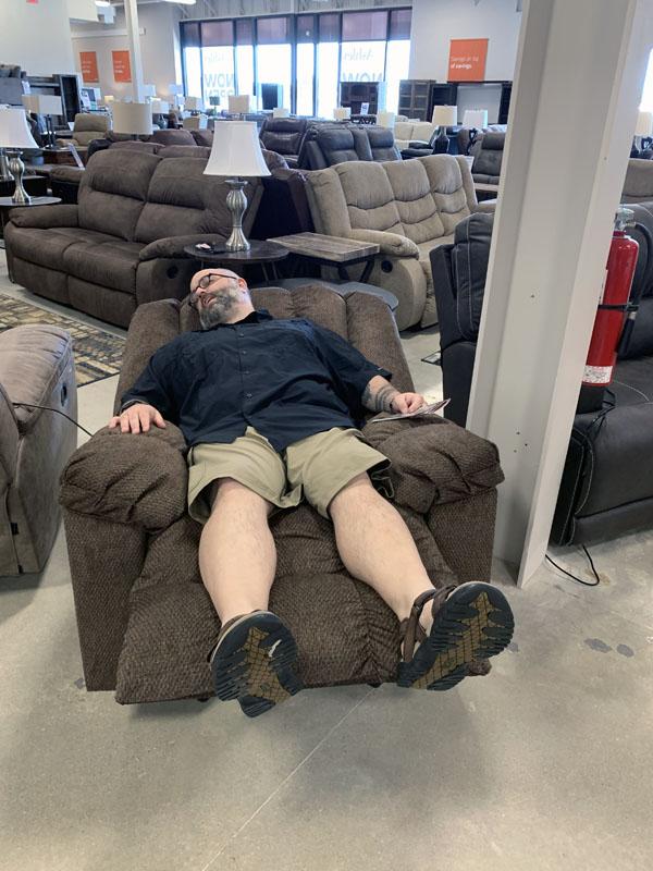 M testing a recliner