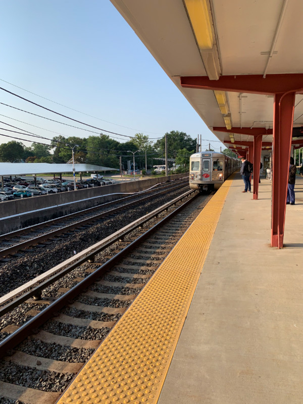 an oncoming PATCO train