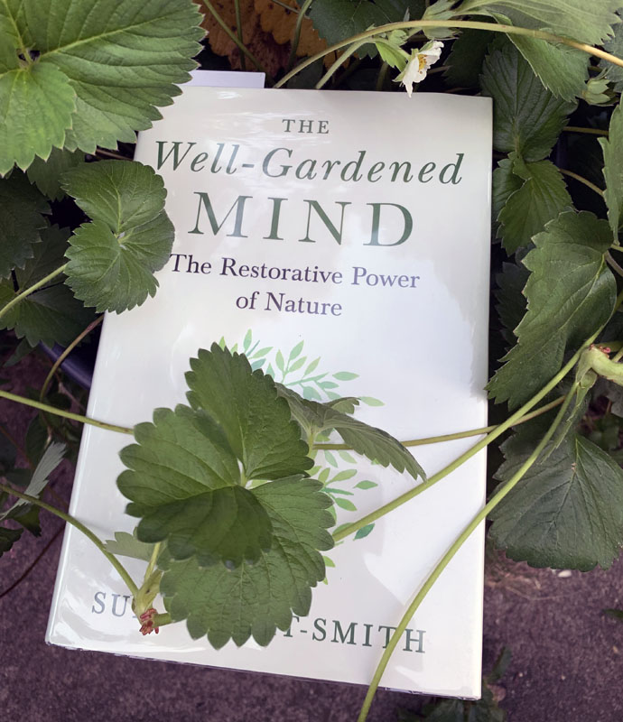 The Well-Gardened Mind book covered in strawberry vines because I'm artsy like that